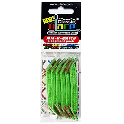 Pack Vert Fluo 2 sachets lacets élastiques U-LACE (NEON GREEN)