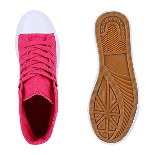 Damen Sneakers High Freizeit Weiss Pink Turnschuhe vawgRvxrq