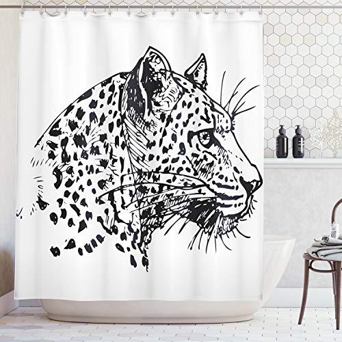 ng, Hand Gezeichnetes Jaguar Profil Tier Dschungel Schwarz-Weiß Afrikanische Safari Thema Grafik, Blickdicht aus Stoff inkl. 12 Ringe für Das Badezimmer Waschbar, 175 X 200 cm ()