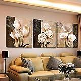 MINRAN DECOR E Stampato su Tela Quadro su Tela Floreale Fiore No Frame, Orchidea Marrone - Wall Art Foto Set Stampe, 50×50×3