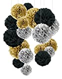 #10: Theme My Party Tissue Paper Pom Poms, Cocodeko Paper Flower Ball for Birthday Party Wedding Baby Shower Bridal Shower Festival Decorations 14 Inch Each (Black Silver Gold)