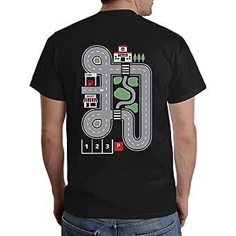 Witziges Geschenk für jeden Papa - Straße auf Rücken als Kinder Spiel T-Shirt Small Schwarz