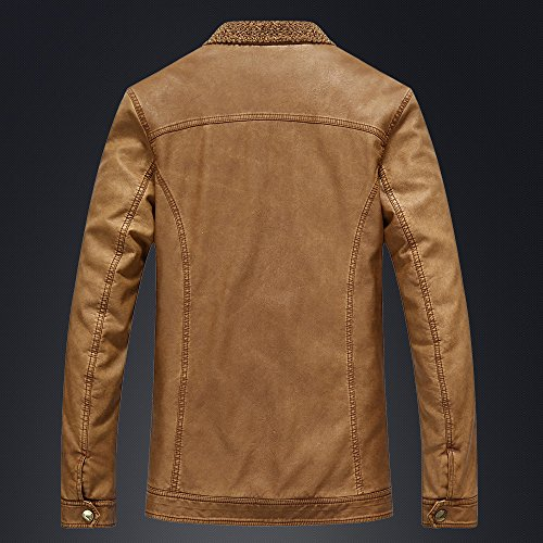 BOMOVO Herren Lederjacke Mantel Herbst Langarm Slim Fit Warm Bikerjacke Jacket Braun