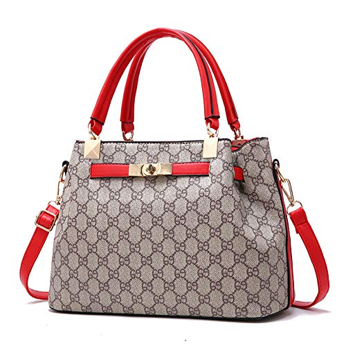 LFGCL Bags womenPlaid Handbag Fashion Platinum Bag Elegante Schultertasche Simple Handbag, red (Louis Vuitton Handbags Tote)