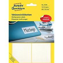 Avery Zweckform 3330 Vielzweck-Etiketten (Papier matt, 112 Klebeetiketten, 80 x 54 mm) 28 Blatt weiß