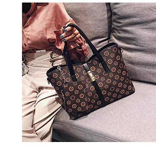 Ldyia Tasche drucken Handtaschen wild große Kapazität Damen Handtasche drucken Umhängetasche, schwarz