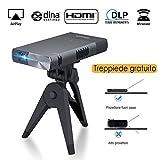 ExquizOn S1 Mini proiettore Portatile 100 ANSI Lumen DLP proiettore Supporto 1080P per iPhone/Android/Giochi/Laptop/TV Box Presentazioni Home Cinema ed Aria Aperta