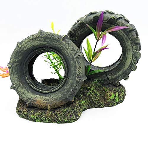 Reifen Art (YGZJ Aquarium-Aquarium-Verzierungen, Aquarium-Höhlen-Reifen-Art-Dekorationen, vervollkommnen, damit Fische innen und herum Schwimmen)