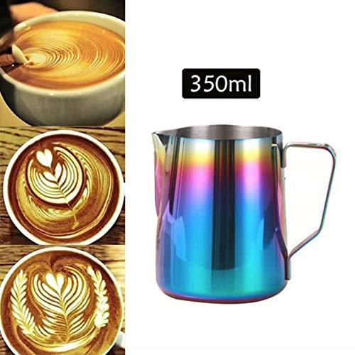 Qiyun lattiere,bricco da latte lattiera per cappuccino in acciaio inox,caffè latte art,350ml acciaio inox 304 colorato