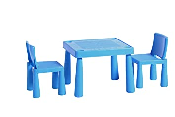 Childrens Kids Plastic Garden Outdoor Or Indoor Table And 2 Chairs Set For  Boys Or Girls