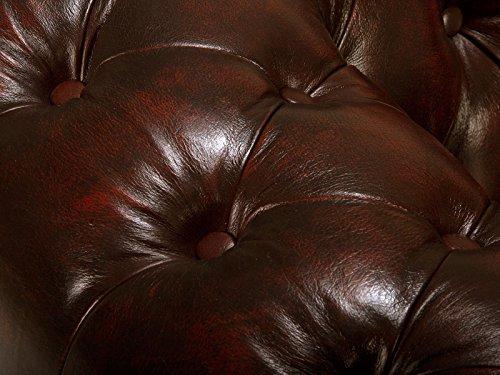 massivum Sofa Chesterfield 218x79x95 cm Echtleder rot - 6