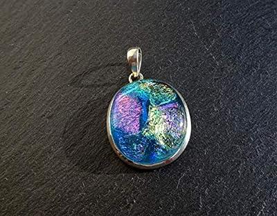 Pendentif charm en argent massif 925 avec verre dichroïque aux couleurs turquoise chatoyantes, taille 3X3.2Cm pendentif unique**Pendentif à vendre sans la chaîne**