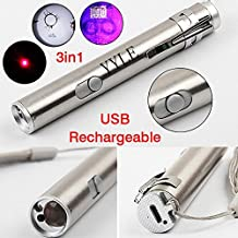 3 in1 500LM Mini Aluminum USB Rechargeable LED UV Torch Pen & Flashlight Multifunctional Lamp