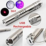 3 en 1 500 LM Mini aluminio USB recargable LED UV Taschenlampe Pen multifuncional lámpara