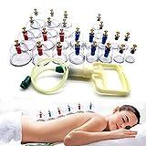 Sonew Paquete de 24 ventosas con manija de Bombeo, Tubo de extensión, Agujas de imán, Tratamiento de acupuntura, masajes, ventosas de vacío, Kits
