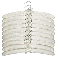 Apex Homeware 10 Pack of High Quaility Ivory Coloured Satin Padded Coat Hangers 43cm, For Dresses, Bridal, Lingerie, Woolen Items etc.