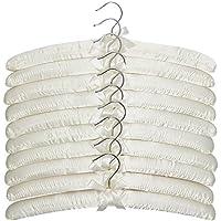 10 unidades de alta Quaility de color marfil satén perchas acolchadas de 43 cm, para vestidos, artículos de lana de novia, lencería, etc.