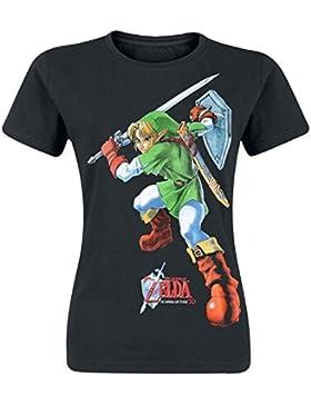 Legend of Zelda - Nintendo Legend Of Zelda Women's Link Ocarina Of Time Print T-shirt, T-Shirt Donna