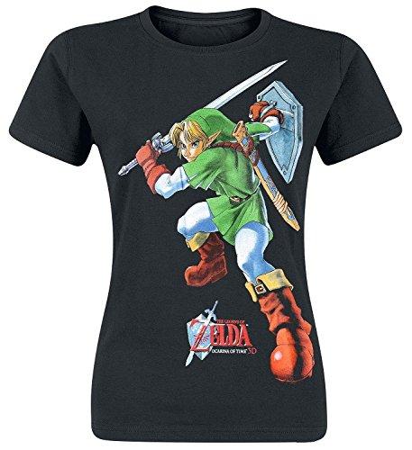 Legend of Zelda Nintendo Legend Of Zelda Women's Link Ocarina Of Time Print T-shirt-T-shirt  Donna    nero Large