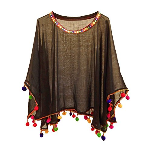 Chakudee Fashion Women's Georgette Poncho Top (Black)