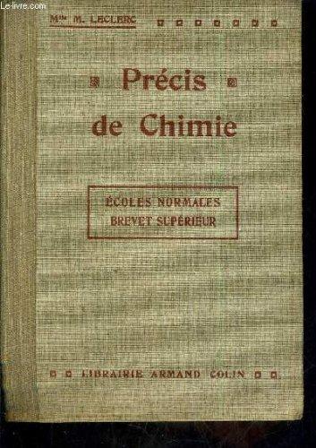 PRECIS DE CHIMIE ECOLES NORMALES BREVET SUPERIEUR.