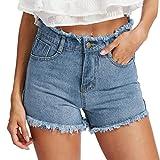 Damen Hosen Sommer LHWY Frauen Reißverschluss Knopf Shorts Blau Denim Jeans Solide Casual Loch Mini Jeanshosen Skinny Shorts (S, Blau)