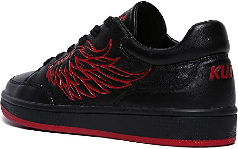 MSM4 Zapatillas de cuero negro unisex para hombre. Patrón de alas rojas. Correas para suela negra.  -