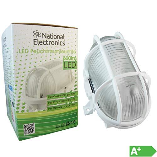 National Electronics Kellerlampen | E27 6W 660 Lumen LED | Feuchtraumleuchte Dimmbar AC 230V 270° Lampe Kellerlicht warmweiß 1er Set