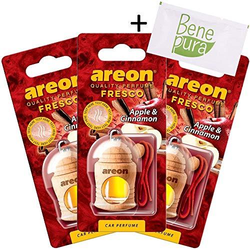 AREON auto deodorante profumo fresco 4ml-Diffusore di profumo di mela e cannella-appeso bottiglia con copertura in legno naturale, a lunga durata, set di 3