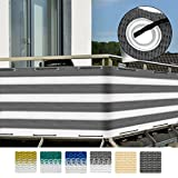 Sol Royal Balkon-Sichtschutz SolVision 500x90cm - witterungsbeständige Balkon-Umspannung Windschutz in Grau-Weiss