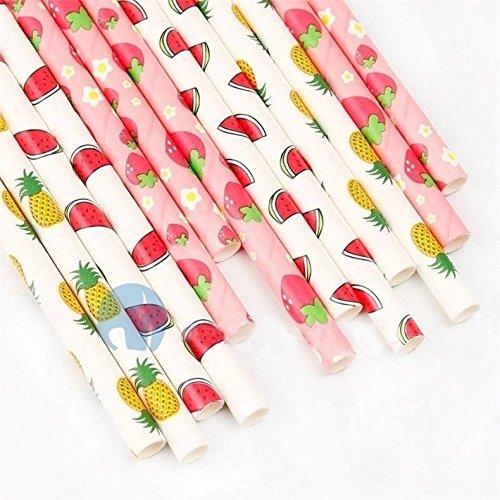 Jun 5Styles Obst Muster Papier Trinkhalme für Hawaiianische Beach Pool Party Hochzeit Dekoration, 19,7cm Dekorative Trinkhalme–Elektrolyt–Zitrone, Erdbeere, Ananas, Wassermelone und Cherry