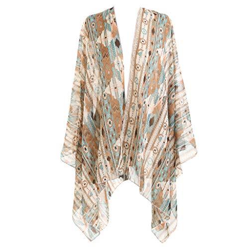 Erisl Damen Langarm-Badeanzug, Sommer-Badeanzug, Ethno-Stil, farbenfrohes geometrisches Muster, Kimono-Cardigan an seitlichem Saum, Loser Schal, Grün
