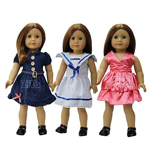 ZITA ELEMENT PACK # 3 Kleid Kostüme Kleider für 18 Zoll American's Girl Doll und andere 18 Zoll 45-46 cm Puppe Kleidung-Sailor Uniform, Denim Kleid, rosa Mädchen Kleidung (Denim Sailor Hose)