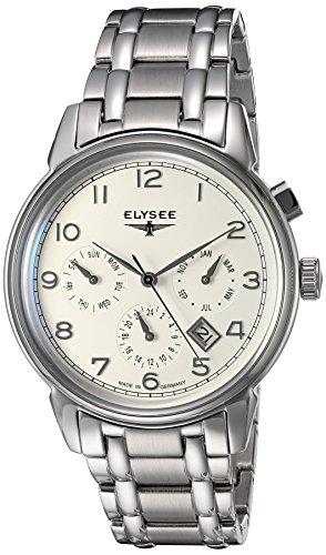 ELYSEE Made in Germany Vintage Calendar 80555S 40mm Automatic Silver Steel Bracelet & Case Synthetic Sapphire Men's Watch