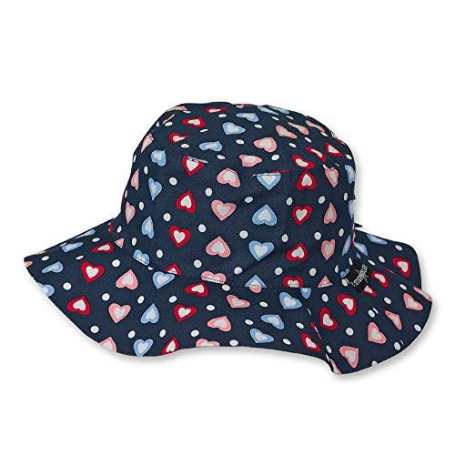 Sterntaler Hut für Mädchen mit buntem Herzchen-Motiv, Alter: 2-4 Jahre, Größe: 53, Blau (Marine)