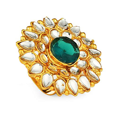 Yellow Chimes Stylish Kundan Cocktail Traditional Gold Plated Ring for Women (Green)(YCTJRG-04KUND-GR)