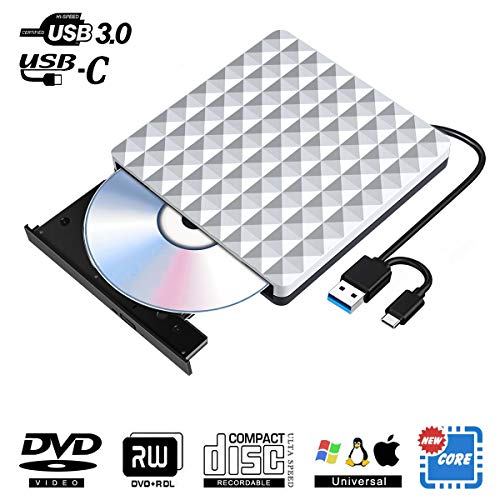 Externes CD DVD Laufwerk USB 3.0 mit Type-C, Tragbarer Slim CD DVD RW Row Externe Brenner Superdrive Reader für PC Laptop, Desktop, iMac, MacBook, Ios, Windows 10/8/7/XP and Linux