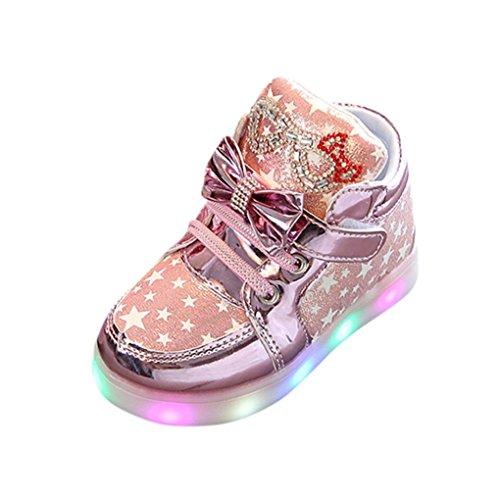 Hirolan Blinkende Kinderschuhe Kleinkind Turnschuhe Star Leuchtend Schuhe Mode Baby Schuhe mit Leuchtsohle Kinder Beiläufig Bunt Lauflernschuhe PU-Leder Mit RGB LED Licht (21, Rosa)