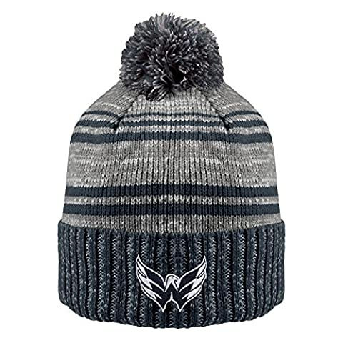 NHL Washington Capitals Men's Merlin Cuffed Knit Hat with Pom, One Size, Navy/Charcoal