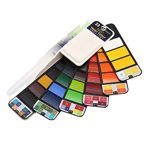 Dkings Aquarellfarbe Set - 18/25/33/42 verschiedene Farben solide Tasche Travel Aquarell Kit, faltbare Kunst Malerei Feld Sketch Set mit Wasserpinsel für Künstler, Kinder, Anfänger malen (Malerei-kit Für Anfänger)