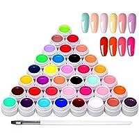 Anself Gel Uñas 36 Colores Esmalte de Uñas Permanente Juego de Pigmentos para Uñas, Poli Gel UV Esmalte Pegamento sólido