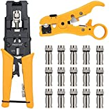 Kamtop Crimping Tool Set Wire Terminal Crimper with Wire Stripper Wire Cutter And 15 F-Type Connector Adjustable Connector F/ BNC/ RCA Cable Terminal Crimp Too Kit for Coaxial/ Network/ UTP/ STP Cable RG 59/ 6 RG 7/ 11