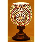 Mosaic Style Hurricane Shaped Table Lamp By Derien/ Antique Night Lamp For Bedside And Living Room/ Perfect Multicolor Item For Home Decoration/ Vintage Lamp For Royal Decoration/ Lamp Shades For ( Size: 16.25 X 16.25 X 25 Cm ) DE122