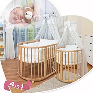 comfortbaby ovales babybett kinderbett 5 in 1 aus buche massivholz natur nutzbar als. Black Bedroom Furniture Sets. Home Design Ideas