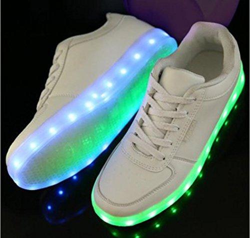 (Present:kleines Handtuch)JUNGLEST 7 Farbe Sneaker USB Aufladen LED Leuchtend Fasching Partyschuhe Sportschuhe Turnschuhe Laufschuhe für Unis Weiß
