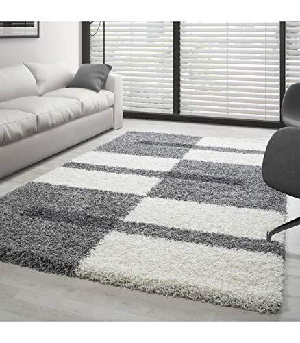 Teppich Hochflor Shaggy Langflor Wohnzimmer Karo Muster Florhöhe 3 cm - Grau-Weiss-Hellgrau, 200x290 cm