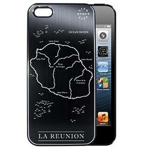 Coque iPhone 5/5S ILE DE LA REUNION en alu brossé noir