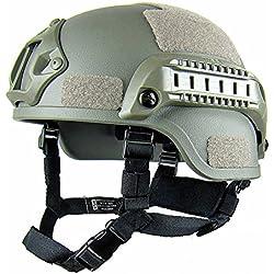 Gezichta Casque tactique de protection style MICH 2001 avec support NVG et rails latéraux pour paintball, airsoft ou CS, vert militaire