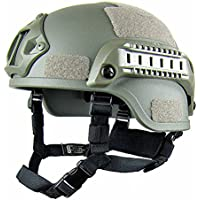 GEZICHTA Casco de Protección para Airsoft, Mich 2001, Versión Táctica, con Soporte NVG y rieles Laterales para Airsoft Paintball CS Game, Army Green