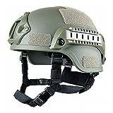 GEZICHTA Casco de Protección para Airsoft, Mich 2001, Versión Táctica, con Soporte NVG y rieles Laterales para Airsoft Paintball CS Game, Army Green